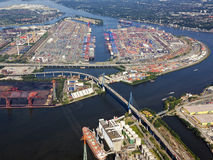 Container terminal at Hamburg Port Stock Images