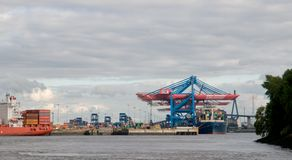 Container terminal in Hamburg. Royalty Free Stock Photo