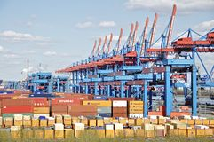 Container Terminal harbor Hamburg Royalty Free Stock Image