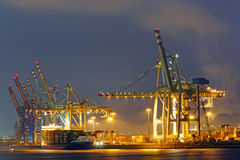 Container terminal in the harbor of Hamburg Stock Image