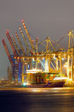 Container terminal in the harbor of Hamburg Stock Images