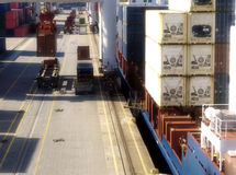 Container terminal harbour Royalty Free Stock Photos
