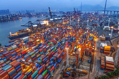 Container terminal in Hong Kong at night Royalty Free Stock Photography