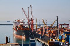 Small container terminal in Italy Stock Photo
