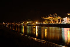 Container terminal by night. Container terminal in Rotterdam by night royalty free stock photography