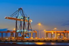 Container Terminal at Night. Container terminal in the Netherlands at night Stock Images