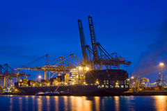 Container terminal at night stock photos