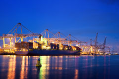 Container terminal at night Stock Photos