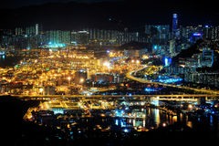 Container Terminal of the night scene. Hong Kong Royalty Free Stock Photos