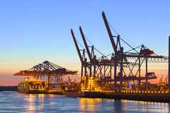 Container Terminal at Night Royalty Free Stock Images