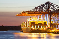 Container Terminal at Night Royalty Free Stock Image