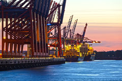 Container Terminal at Night Stock Photography