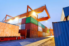Container terminal at night. Working in the bridge crane Royalty Free Stock Image