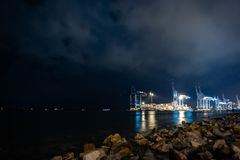 Container terminal in Northport at night royalty free stock photos