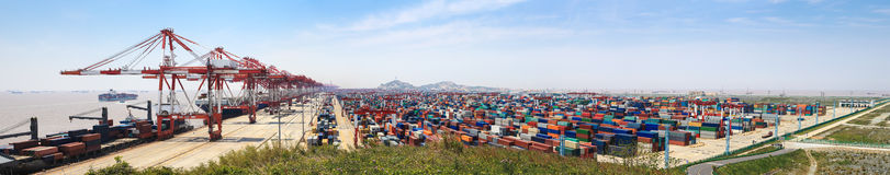 Container terminal panorama stock images