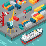 Container Terminal. Platform Supply Vessel. Vector Royalty Free Stock Image