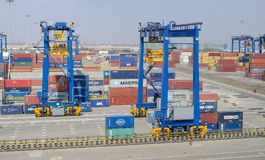 Container terminal in port of Mundra. Mundra, India - February 04: Container terminal in port of Mundra on February 04, 2018 in Mundra, India Stock Photo