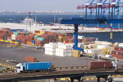 Container terminal in port. Stock Image