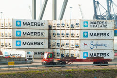 Container terminal in the Port of Rotterdam Royalty Free Stock Images