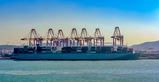 Container terminal Qingdao port, China. royalty free stock photography