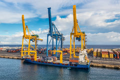 Container Terminal at Reunion island Stock Photography