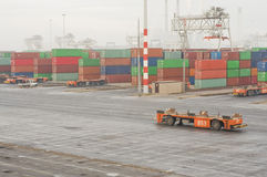 Container terminal in Rotterdam with automatic vehicles. Stock Image