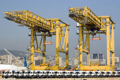 Container terminal and row of new trucks Stock Photography