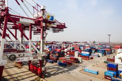 Container Terminal in Shanghai, China royalty free stock photo