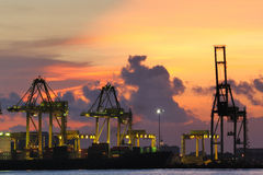 Container Terminal in shipping Industries Royalty Free Stock Photo