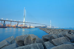 Container terminal and stonecutter bridge Royalty Free Stock Photos