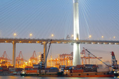 Container terminal and stonecutter bridge Royalty Free Stock Photography