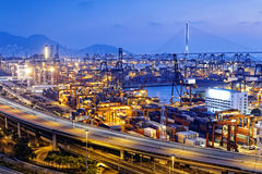 Container terminal and stonecutter bridge in Hong Kong Royalty Free Stock Images