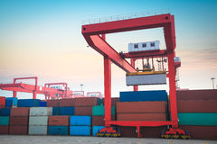 Container terminal at sunrise Royalty Free Stock Photos