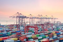 Container terminal in sunset Royalty Free Stock Images