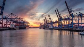 Container Terminal Sunset Timelapse stock video