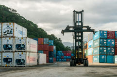 Container Terminal. Top Loader in Container Terminal Stock Images