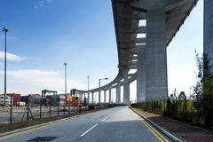 The container terminal under the stonecutters bridge in Hong Kong Stock Photo