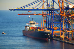 Container terminal. View of a Cargo ship in the container terminal Royalty Free Stock Photo