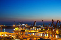 Container terminal. View of a container terminal at night Stock Image