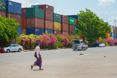 Container terminal in Yangon Royalty Free Stock Image