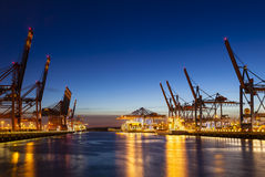 Container Terminals at Night Stock Photos