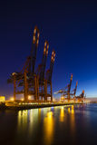 Container Terminals at Night Stock Image