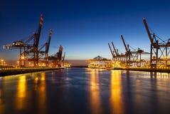 Container Terminals at Night Stock Photos
