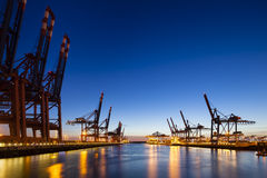Container Terminals at Night Stock Photography