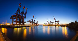 Container Terminals at Night Panorama Royalty Free Stock Photography