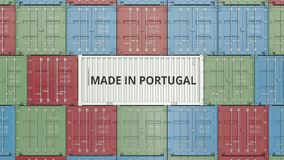 Container with MADE IN PORTUGAL text. Portuguese import or export related 3D animation stock footage