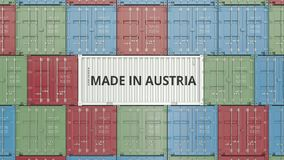 Container with MADE IN AUSTRIA text. Venezuelan import or export related 3D animation stock footage
