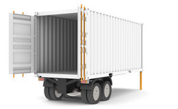 Container Trailer. Open and empty Container Trailer. Part of warehouse series Royalty Free Stock Photography