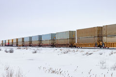 Container Train in Prairie Winter Royalty Free Stock Image