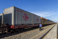 Container train truck overhaul Royalty Free Stock Photo